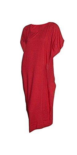 Damen Kaftan Einfarbig Kleid Umhang XXL Strand Rüschen Quasten Rot