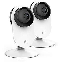 YI Caméra Surveillance WiFi 1080P Caméra de Sécurité Domestique Wireless sans Fil Caméra IP Vision Nocturne Détection Mouvement et de sanglot de bébé Caméra en Direct-Cloud Service(Lot de 2 Caméras)