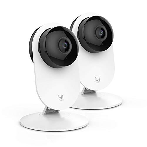 YI Cámara de Vigilancia 1080p IP Cámara WiFi con Micrófono y Altavoz, Visión Nocturna, Detección de Movimiento, Seguridad para Bebé y Mascotas, Compatible con iOS, Android (Nube Opcional) - 2 Piezas