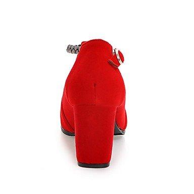 Talloni delle donne Primavera Estate Autunno Inverno Dress Altro Fleece ufficio & carriera Party & Sera tacco grosso fibbia Nero Blu Rosso Black