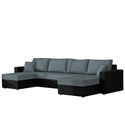 Mirjan24  Ecksofa Sofa Couchgarnitur Couch Rumba! Wohnlandschaft mit Schlaffunktion und Bettkasten, Ecksofa in U-Form, Polstermöbel, Farbauswahl, Kissen-Set (Soft 011 + Bristol 2446)