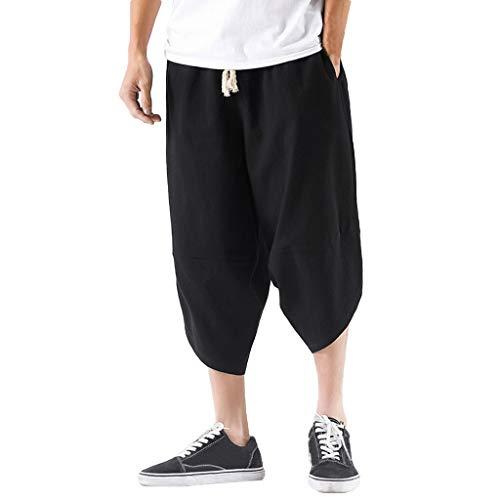 Xmiral Wadenlange Hosen Einfarbig Große Größe Elastische Taille Lose Herren Shorts Caprihose Freizeitkleidung Jogger Fitness(Schwarz,M)