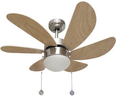 003 ventilador de techo 6 aspas níquel/haya, 1XE27 motor reversible. AkunaDecor.
