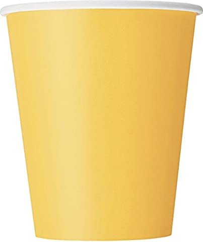 9oz Yellow Paper Cups, Pack of 8
