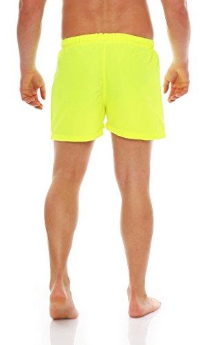Gennadi Hoppe Herren Badeshorts kurz Badehose Strand Shorts Boardshorts Neongelb
