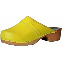 'Marited' Zuecos Madera Cuero Amarillo Mujer / Hombre (38)