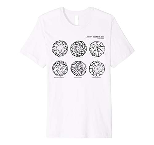 Desert Cacti: Peyote and 5 other cacti white/gray t-shirt DE