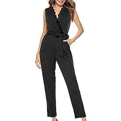 Fancyinn Combinaison Femme ete sans Manches Pantalon Jumpsuit Romper,Noir,XL(46)