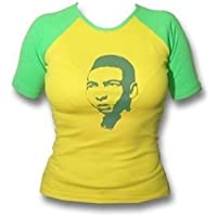 Pele Raglan T-Shirt da ragazza, Giallo/Verde, Donna, DRESS 4WARD - PELE-Girlie-Shirt, Größe L, Gelb, L