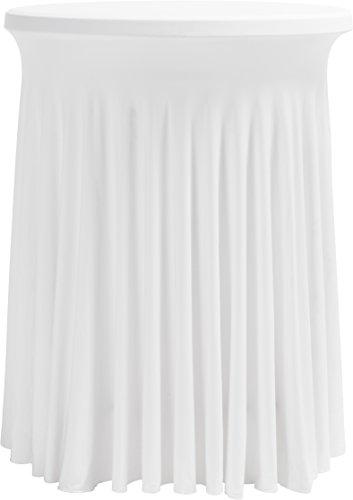 Hussenkönig Stehtischhusse Stretch Husse für Stehtische Ø 60 cm 70 cm 80 cm Premium Weiß