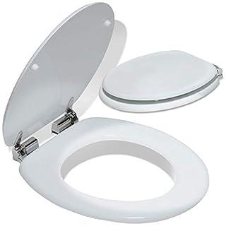 Kesser® WC Sitz ✓ Toilettensitz ✓ Toilettendeckel✓ Klodeckel ✓ Klobrille ✓ Absenkautomatik | MDF | Verschiedene Designs Weiß