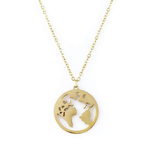 Heideman Halskette Damen Weltkarte aus Edelstahl Gold, Silber oder Rosegold Farben poliert Kette für Frauen mit Anhänger Weltkugel Kettenlänge 45cm + 5cm hc25007-7-45