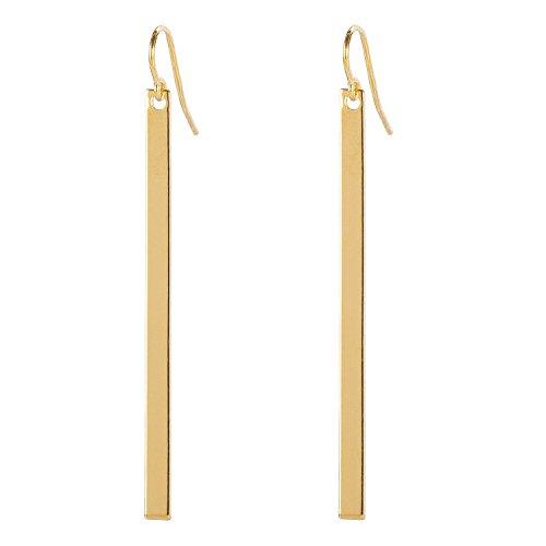 Tom Shot Ohrhänger Damen schmale Platte Rechteck-Anhänger Hochglanz vergoldet - 95or0313g