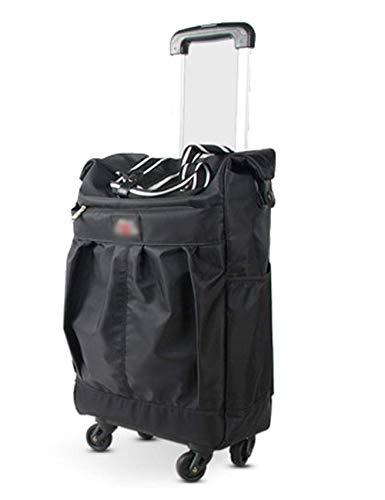 Einkaufswagen Shopping-GR Einkaufswagen, wasserdichtes Oxford, Teleskop-Zugstange aus Aluminiumlegierung, praktischer zusammenklappbarer Einkaufswagen (Größe: groß) Trolleysäcke zusammenklap (86 Zugstange)