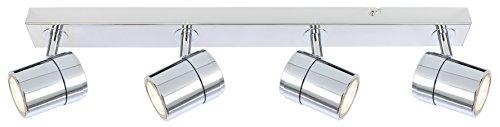 Satin Chrom 3 Licht (UKEW verstellbar 4Way GU10Spot Deckenlampe Bar-, schwarz weiß Satin Chrom Chrome)