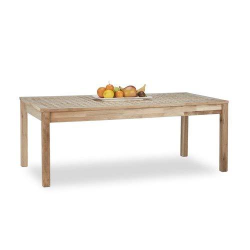Relaxdays Couchtisch Walnuss, geölter Holztisch für Wohnzimmer, niedriger Kaffeetisch HxBxT: 45 x 120 x 20 cm, natur - Niedriger Tisch