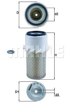 Preisvergleich Produktbild Mahle Knecht LX 13 Luftfilter