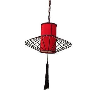 Style chinois Luminaire suspendu avec abat-jour rouge Rétro