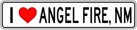 Custom Street Sign I Love ANGEL FIRE, NEW MEXICO - City State Heart Sign - 3x18 Inches Aluminum Metal Sign