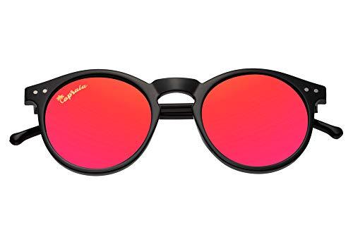 Capraia Timorasso Festival Round Vintage Sunglasses Ultra Light High Quality TR90 Shiny Black Frame and Red Mirrored Polarised Lenses UV400 protected Mens Womens