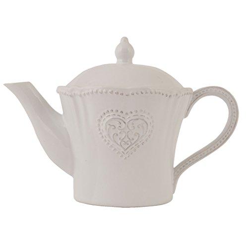 Klassische Vintage-Stil verziert Keramik Teekanne mit mit Relief Muster, rustikale französischer...