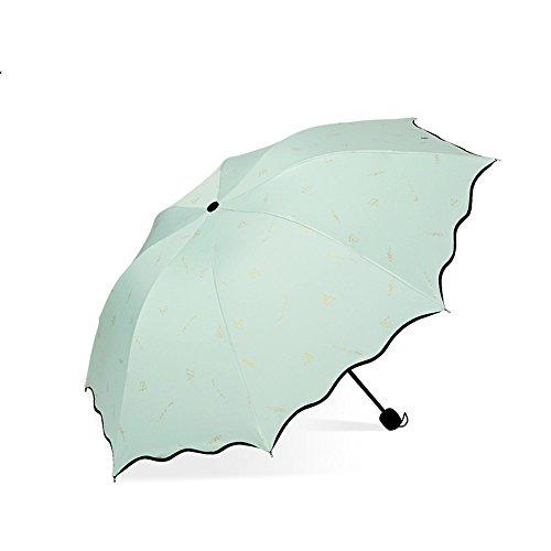 LybCvad Regenschirm Gradient doppelte Erhöhung Sonnenschirm und Regenschirme Dual-Use DREI faltende übergroße Schattierung Sonne, Smaragdgrün DREI Pack Zwei Katzen hellgrün