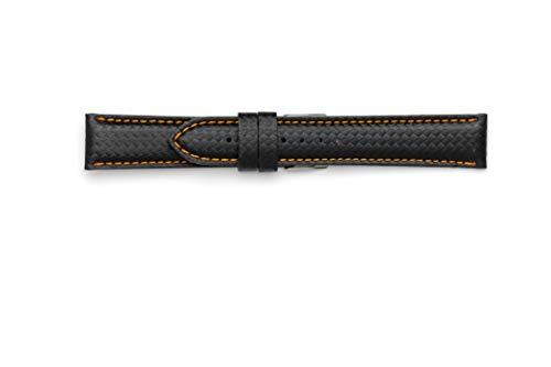 Kohlenstoffband wasserdicht 18mm 20mm 22mm 24mm Hergestellt in Italien, mit wasserdichtem technischen Material. 24-22 Arancio - Mercier Und Band Baume Uhr