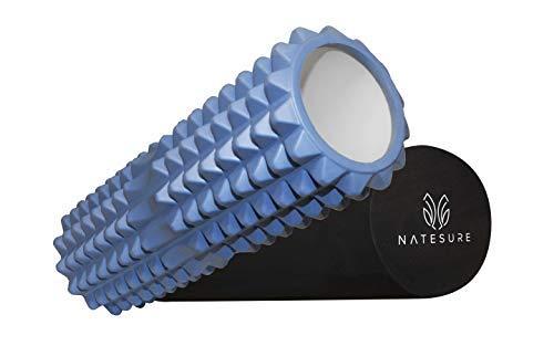 NATESURE Faszienrolle 45cm 2-in-1 Massagerolle für Selbstmassage von Rücken Faszien und Brustwirbelsäule mit praktischer Netztasche
