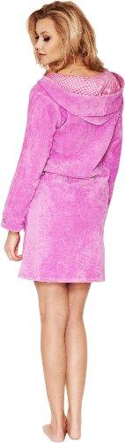 Merry Style Damen Hausmantel mit Kapuze und Reißverschluss Viki Violett