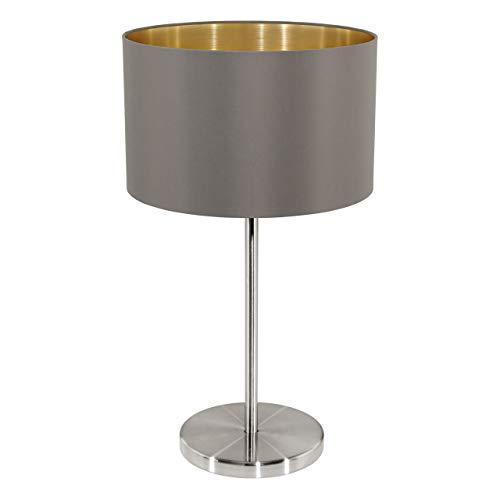 Cappuccino-boden (EGLO Tischleuchte, Stahl, E27, Nickel-matt/Cappuccino/Gold, 23 x 23 x 42 cm)