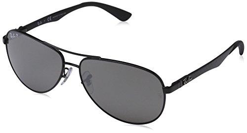 Ray Ban Unisex Sonnenbrille, RB8313 002/K7 58, Gr: 58, Schwarz (Gestell: schwarz (shiny) Glas: polarisiert grau verspiegelt 002/K7)