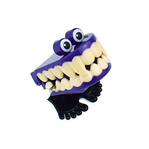 happy event Halloween Vampirzähne Uhrwerk Geschenk Wind Up Bounce Spielzeug Requisiten Spielzeug Springen Lernspielzeug (Violett)