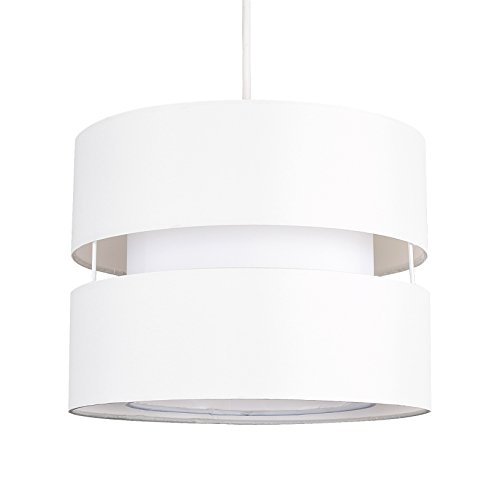 MiniSun - Moderner und schöner Lampenschirm mit 2 Schichten und einem creme Finish – für Hänge- und Pendelleuchte (Weißer Elektrischer Ebene)