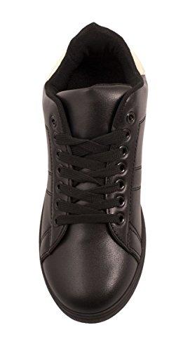 Elara Trendige Unisex Sneaker |Damen Kult Sport Laufschuhe | Turnschuhe Schwarz / Gold