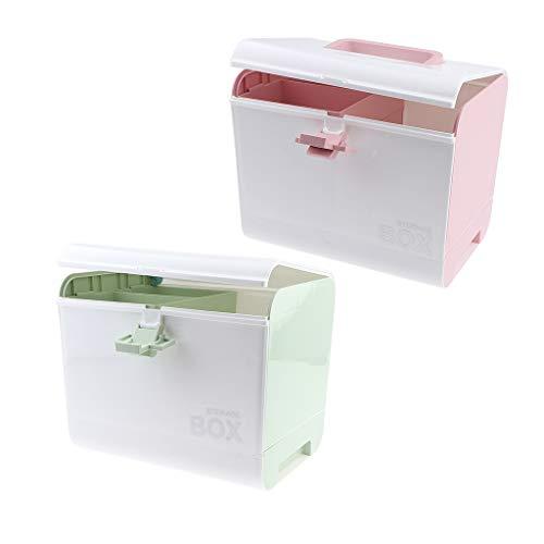 IPOTCH 2er Pack Tragbar Medizinkoffer Medizinbox Medikamente Aufbewahrung Erste Hilfe Koffer mit Tragegriff