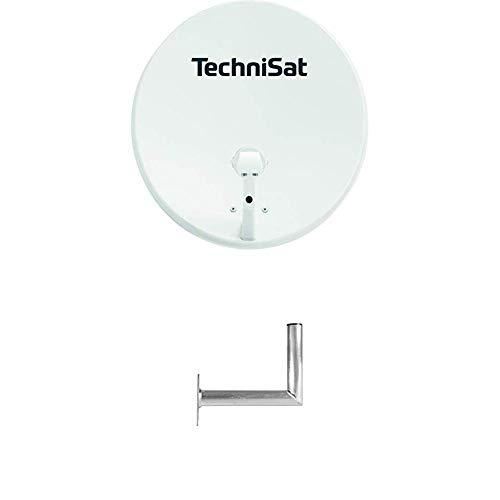 TechniSat TechniTenne 60 Satellitenschüssel (60 cm digital Sat Anlage/Antenne mit Masthalterung und Universal Twin LNB für bis zu Zwei Teilnehmer) lichtgrau + TechniPlus 35 Sat-Wandhalterung 35 cm