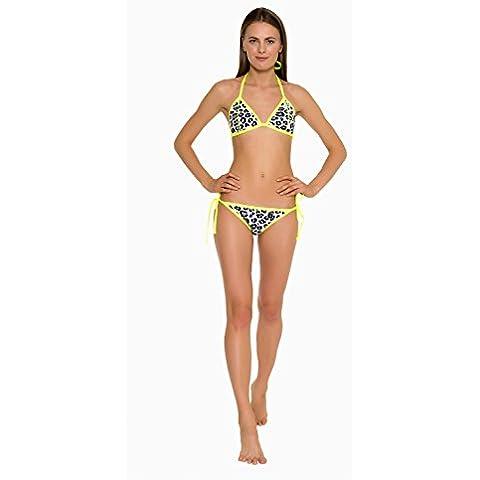 GlideSoul-Parte superiore Bikini unita a triangolo, 0,5 mm Multicolore Leopard/Lemon S