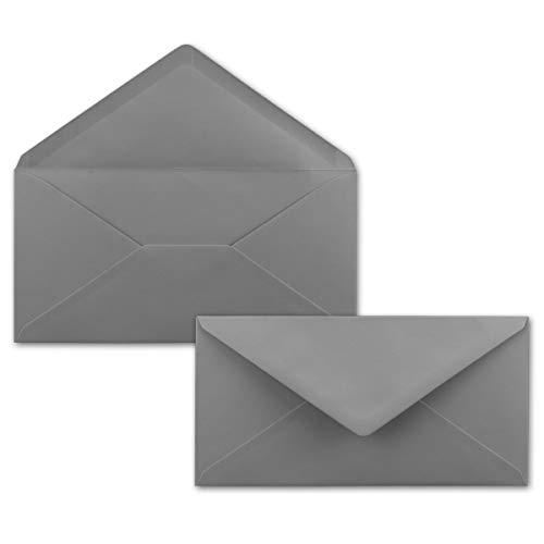 50 Brief-Umschläge Dunkel-Grau/Graphit DIN Lang - 110 x 220 mm (11 x 22 cm) - Nassklebung ohne Fenster - Ideal für Einladungs-Karten - Serie FarbenFroh®