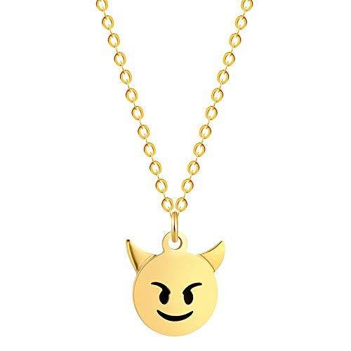 Lady Bling Bling Damen Halskette mit Anhänger aus Edelstahl mit Emaille Emoticon Smiley Affe Kackhaufen inkl. Etui (Smiley Teufel, Gold) - Womens Affe