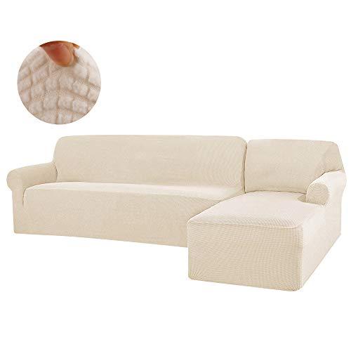 Copridivano con Penisola Elasticizzato Chaise Longue Sofa Cover Componibile in Tessuto Jacquard in Poliestere Stretch Composto da 2PCS (Bianco Crema, Destro)