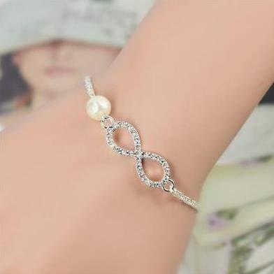 Doppelte Öffnung (Elistelle Silber Schmuck doppelte Liebe Armband voll von schrecklichen geformten Öffnung doppelt vergoldet Armreif der Herzen (G))