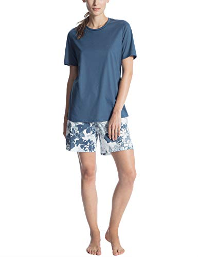 Calida Damen Soft Jersey Fun Kurz Pyjama Zweiteiliger Schlafanzug, Mehrfarbig (Nimes Blue 487), Small (Damen-kurz Baumwoll-jersey)