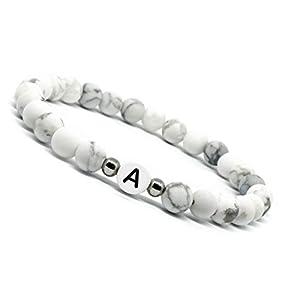 Mister Boncuk`s Eternal Love Single White Edition – Partnerarmbänder aus Howlith Perlen mit hochwertigen Edelstahl Perlen – Namensarmband Individuell Personalisierbar mit graviertem Buchstabe