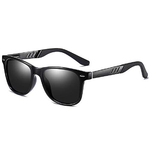 0 Occffy Polarisierte Sonnenbrille UV400 Retro Vintage Brille für Herren und Damen (Schwarze Matte Rahmen mit Schwarze Linse)