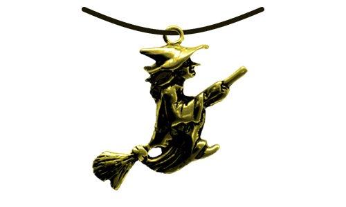 HOLZSPIELEREI Anhänger Hexe auf Besen gold (Hexe Flamme Besen)