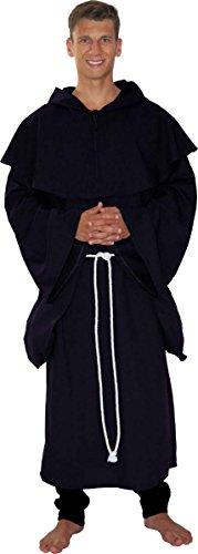 MAYLYNN 18109 - Kostüm Mittelalter Mönch Herren ABT schwarz 3tlg, Größe:M/L