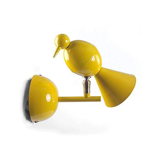 ACZZ Kreative Bunte Kinder 'S Vogel Led Eisen Metall Wandleuchte Nordic Modernen Minimalistischen Einstellbare Wandleuchte Wohnzimmer Gang Treppe Schlafzimmer Nachttischlampe Wandleuchte E27,Gelb -