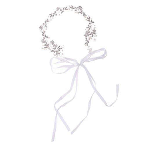 MagiDeal Blättern und Blumen Stirnband Silber Perlen Strass Haarkranz Hochzeit Braut Haarschmuck