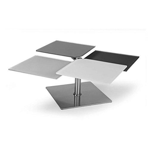 designement Assia Table Basse articulée Verre, Gris, 60 x 50 x 42 cm
