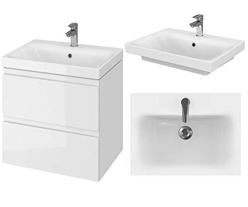 VBChome Badmöbel 60 cm Weiß Waschbecken mit Unterschrank Waschtisch 2-Schubladen Moduo